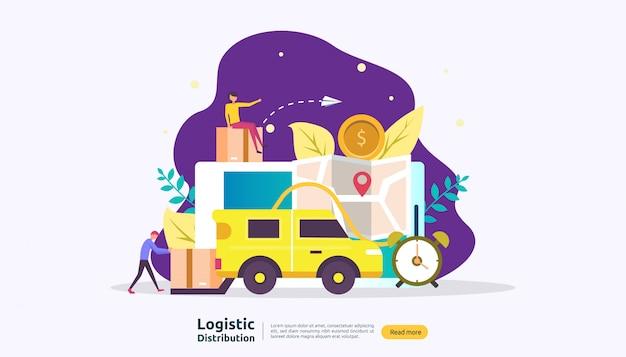 Serviço de distribuição logística global e entrega banner de envio mundial com caráter de pessoas
