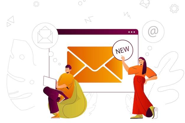 Serviço de e-mail conceito da web tecnologia de comunicação on-line enviar novas mensagens