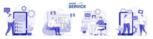 Serviço de e-mail isolado definido em design plano pessoas enviam e recebem cartas correspondência pessoal