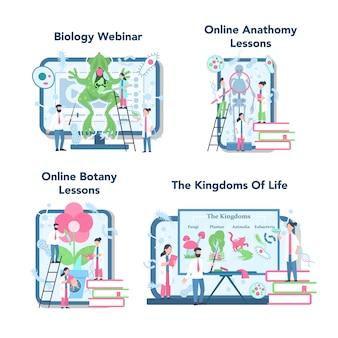 Serviço de educação on-line de assunto escolar de biologia ou plataforma em conjunto de conceito de dispositivo diferente. aula de anatomia e botânica. lei de educação e experimento.