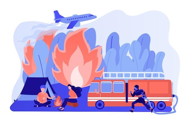 Serviço de emergência de combate a incêndios. bombeiro com caráter de mangueira. prevenção de incêndios florestais, incêndios florestais e gramados, conceito de engenharia de segurança de conflagração. ilustração de vetor isolado de coral rosa