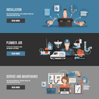 Serviço de encanador 3 banners horizontais interativos
