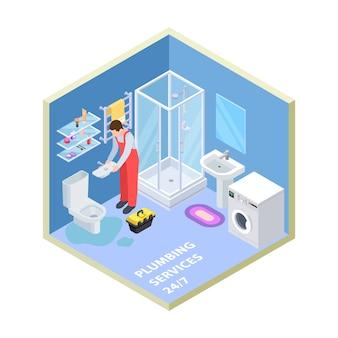 Serviço de encanamento em banheiro isométrico