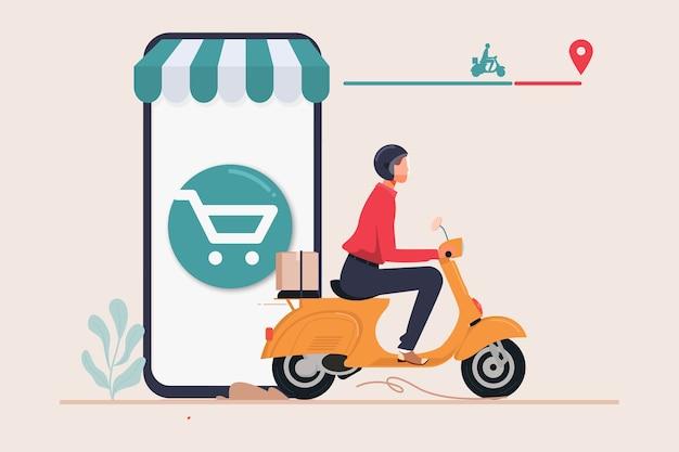 Serviço de encomenda de entrega da loja online