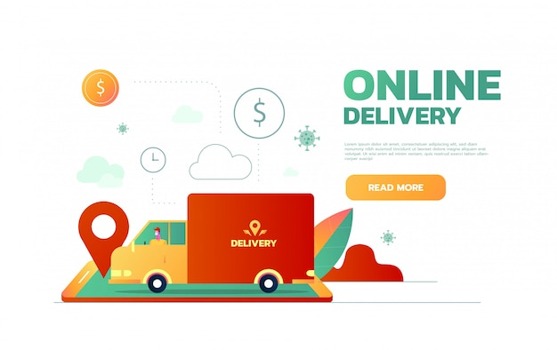 Serviço de entrega. caminhão de entrega no fundo da cidade. estilo simples, ilustração