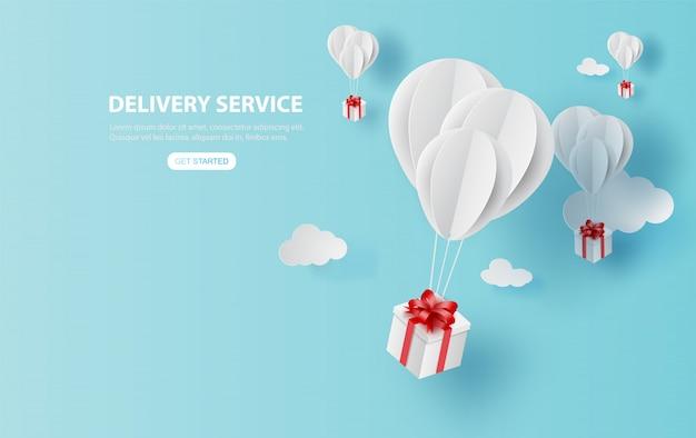 Serviço de entrega com caixa de presente no ar azul