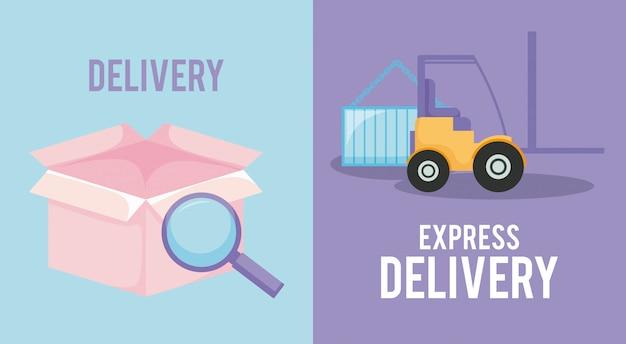 Serviço de entrega com caixa e empilhadeira