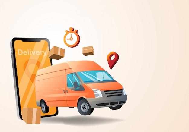 Serviço de entrega com carro