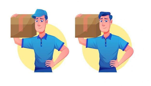 Serviço de entrega com chapéus e mensageiros do entregador (ilustração dos desenhos animados do serviço de transporte de mascote)