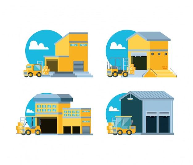 Serviço de entrega com edifícios de armazém