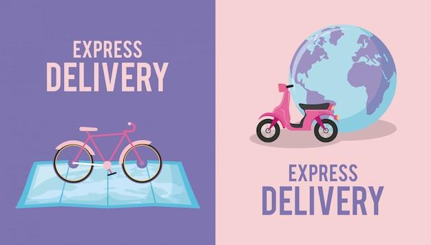 Serviço de entrega com moto e bicicleta