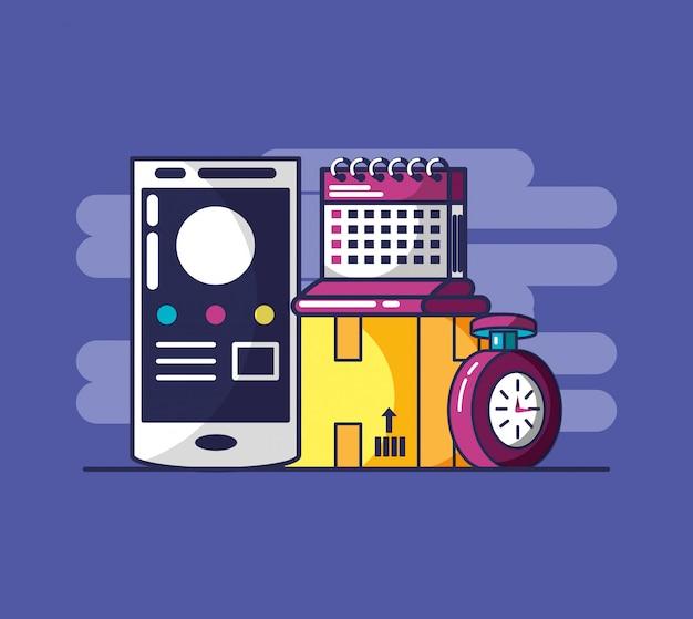 Serviço de entrega com smartphone e ícones