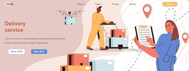 Serviço de entrega conceito web transporte de armazenamento de encomendas em armazém