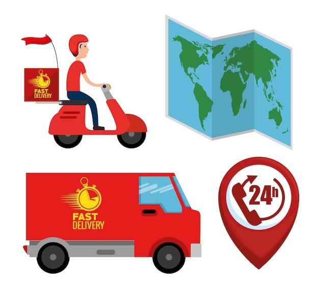 Serviço de entrega conjunto de ilustração de vetor ícones