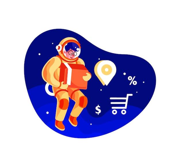 Serviço de entrega de astronauta segurando ilustração de caixa