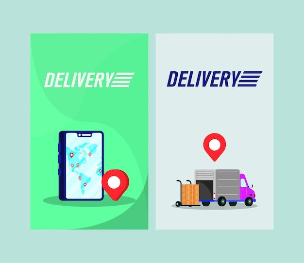 Serviço de entrega de caminhão com caixas no smartphone
