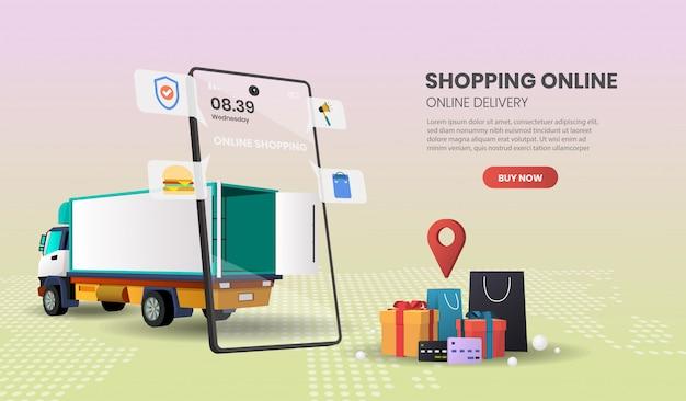 Serviço de entrega de caminhões para alimentos e pacotes de serviço de entrega de compras on-line .