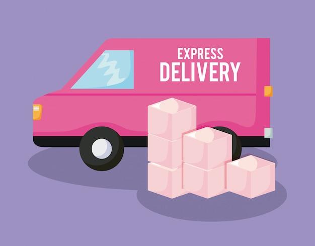 Serviço de entrega de carro com caixas