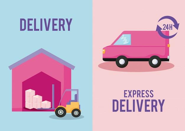 Serviço de entrega de carro com empilhadeira