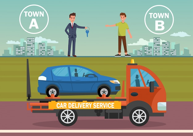 Serviço de entrega de carro. ilustração em vetor plana.