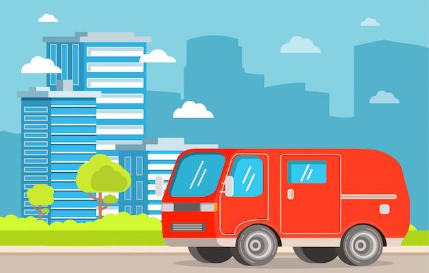 Serviço de entrega de carro van transporte de carga de caminhão.