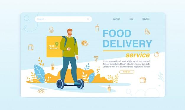 Serviço de entrega de comida na página de destino do hoverboard