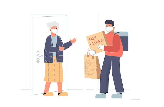 Serviço de entrega de comida segura. courier em luvas segurando uma caixa
