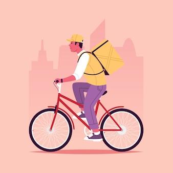 Serviço de entrega de comida um mensageiro anda de bicicleta para entregar pedidos tendo como pano de fundo a cidade