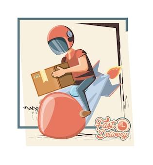Serviço de entrega de correio no ícone de foguete vector ilustration