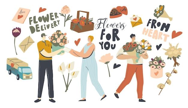 Serviço de entrega de flores. personagens de mensageiros trazendo lindos buquês aos clientes. agradável surpresa, parabéns com feriados. aniversário ou data romântica. ilustração em vetor de pessoas lineares