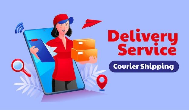 Serviço de entrega de mercadorias usando um smartphone móvel