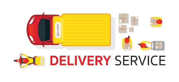 Serviço de entrega de motos de scooter de caminhão de entrega vista superior ou superior com caixa de transporte de funcionários