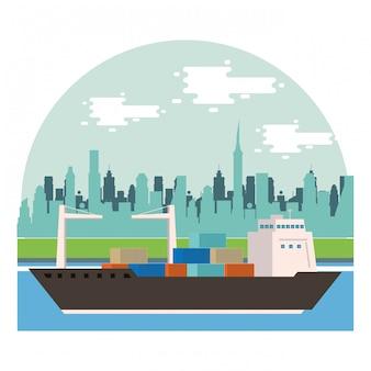 Serviço de entrega de navios na cena do mar