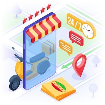 Serviço de entrega de pacotes de pedidos de comida on-line
