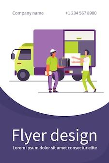 Serviço de entrega de pedidos. correio dando caixa de pacote ao cliente perto do caminhão modelo de folheto plano