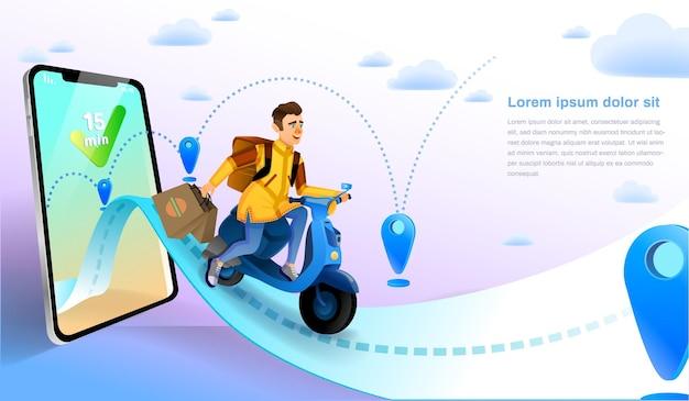 Serviço de entrega de remessa de entrega de comida entregando compras de comida online pedido de serviço de entrega de remessa online