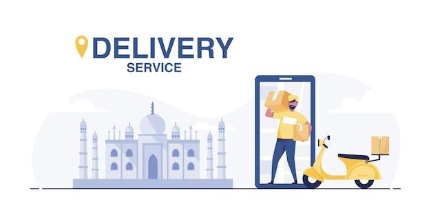 Serviço de entrega de scooter. entregador indiano jovem com pacote em uma motocicleta.