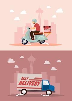 Serviço de entrega de van e moto