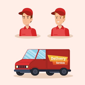 Serviço de entrega dos caráteres dos correios da equipe