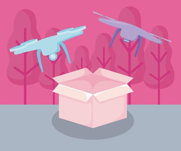 Serviço de entrega drones voando com caixa