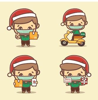Serviço de entrega durante o natal novo normal. correio com máscaras protetoras entrega mercadorias e alimentos, andando de motocicleta