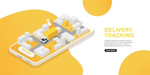 Serviço de entrega e logística de rastreamento transportam tecnologia de aplicativos móveis.