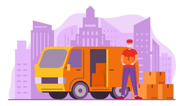 Serviço de entrega e logística de van. caixa de descarga do homem do caminhão. courier com pacote. horizonte de arranha-céus.d.