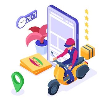 Serviço de entrega e pedido de comida online com correio em scooter e pizza