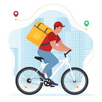 Serviço de entrega expressa courier em bicicleta com caixa de pacote ilustração em vetor plana