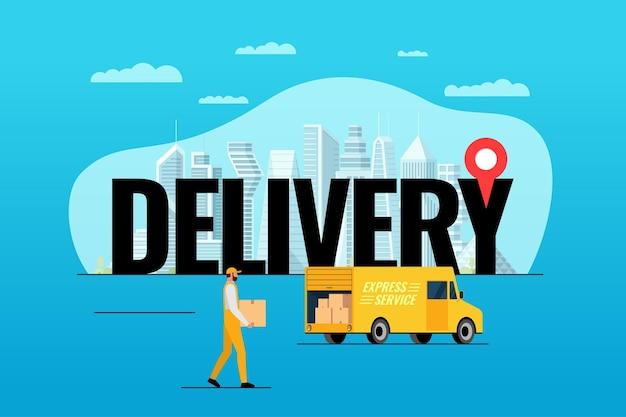 Serviço de entrega expressa de caminhão de caminhão para encomenda de conceito grande inscrição com gps pin geotag moderno