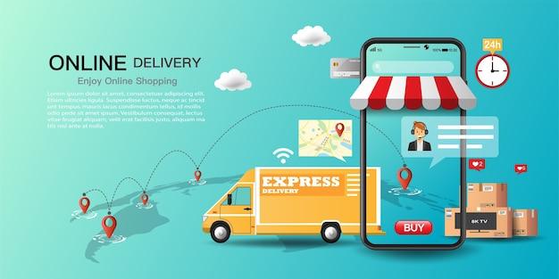 Serviço de entrega expressa de caminhão no aplicativo, entrega de mercadorias e comida para casa e escritório com mapa de rastreamento.