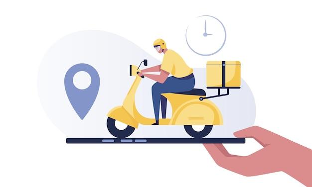 Serviço de entrega, fman conduz uma scooter amarela com uma caixa de pacote, telefone segurando a mão com rastreamento de localização do correio.
