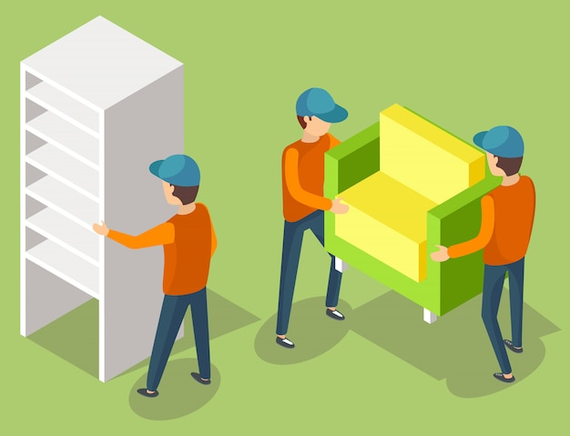 Serviço de entrega, móveis em movimento