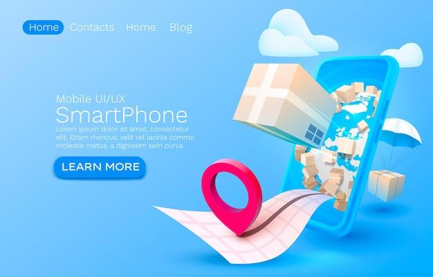 Serviço de entrega móvel na página de destino da tela do celular do smartphone